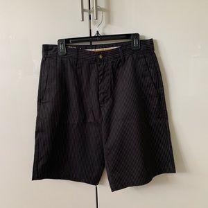 Volcom men black shorts pinstripe white 32